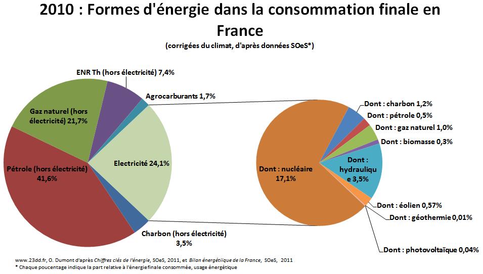 sources d energie dans la consommation finale fran aise en 2010. Black Bedroom Furniture Sets. Home Design Ideas